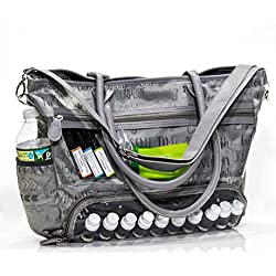 Essential Oils Demonstration Luci Style Travel and Crafts Tote | Water Resistant | Great For Young Living DoTerra Avon and Mary Kay Sellers | Display Windows and Adjustable Shoulder Strap (Gray)