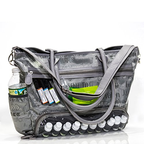 - Essential Oils Demonstration Luci Style Travel and Crafts Tote | Water Resistant | Great For Young Living DoTerra Avon and Mary Kay Sellers | Display Windows and Adjustable Shoulder Strap (Gray)