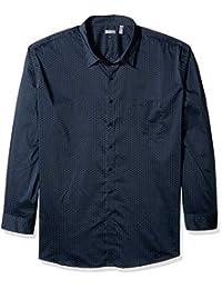 Van Heusen - Camisa de Manga Larga para Hombre de Gran tamaño y Alto, Flexible, no Necesita Planchado, elástica