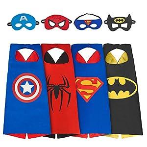 amasky Superhero Costume, Dress up Costumes Set of Superhero Satin Capes with Felt Masks for Kids (4 Pack)