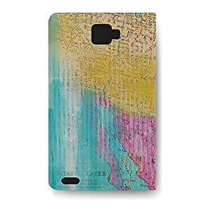 Leather Folio Phone Case For Samsung Galaxy Note 2 Leather Folio - Painted Map Artistic Folio Back