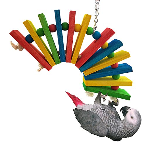 Bwogue Colorful Wooden Bird Toys For African Greys Parrots Cage Chewing Toy,Large by Bwogue