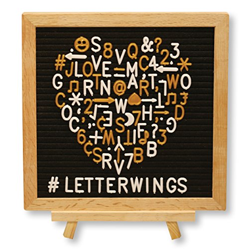 Black Felt Letter Board 10x10 inches - 680 Gold & White Letters - Symbols, Numbers, Emojis & Punctuation - Premium Oak Wood Frame & Tripod Stand - 2 Free Canvas Bags - Wall Hanger and Scissors