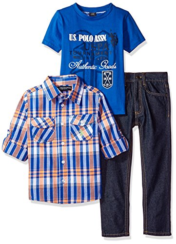 Plaid Kids Clothing (U.S. Polo Assn. Boys' Little Boys' 3 Piece Long Sleeve Fancy Sport Shirt, T-Shirt Or Creeper, and Denim Jean Set, 0229 Blue/Pink Plaid,)
