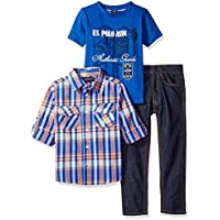 U.S. Polo Assn. Boys' 3 Piece Long Sleeve Shirt, T-Shirt, and Denim Jean Set