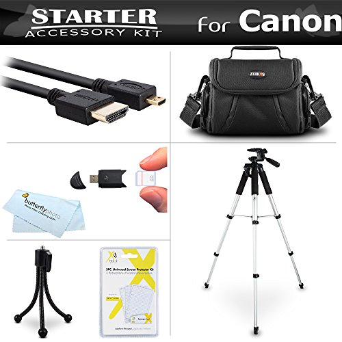 Starter Accessories Kit For The Canon PowerShot SX720 HS, Canon G7 X Mark II, G7 X, G9 X, G5 X Digital Camera Includes Carrying Case + 57 Tripod w/ Case + Micro HDMI Cable + Screen Protectors + More by ButterflyPhoto