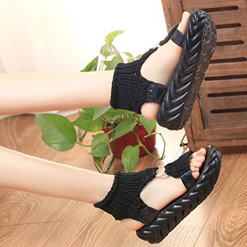 Con Comfort Vovotrade Size Per Plus Sneakers Nero Scarpe Accogliente A Zeppa Suola Sandali Estiva Donna Morbide Intrecciate Casual q4xg8P