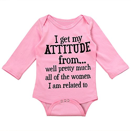 MIOIM Infant Baby Girls Funny Letter Printed Pink Rompers Onesie Bodysuit (Pretty Girl Outfits)