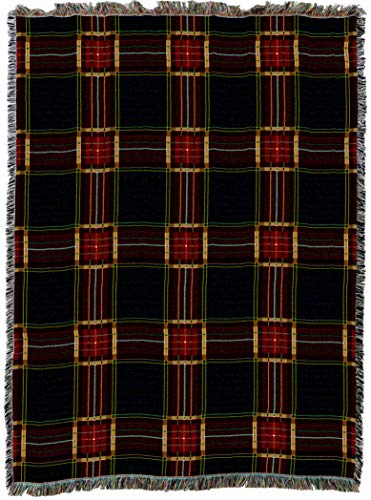 (Pure Country Weavers | Golf Plaid Woven Tapestry Throw Blanket with Fringe Cotton USA 72x54)