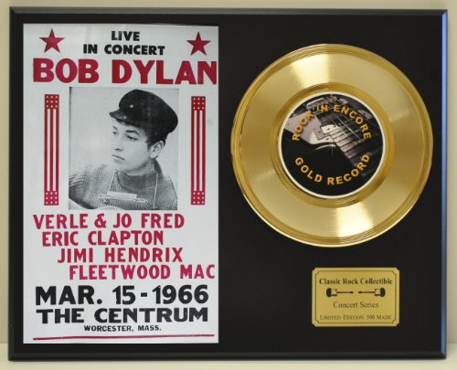 (BOB DYLAN Limited Edition Gold 45 Record Display. Only 500 made. Limited quanities. FREE US SHIPPING)