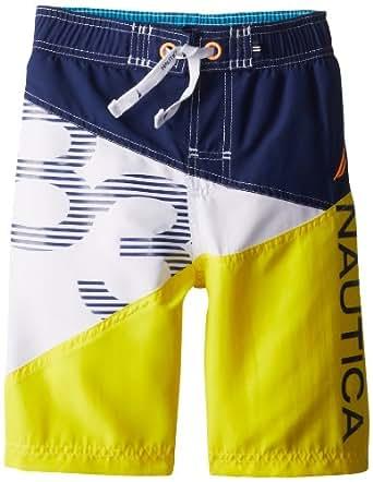 Nautica Big Boys' Sail 83 Color Blocked Swim Trunk, Yellow, Medium