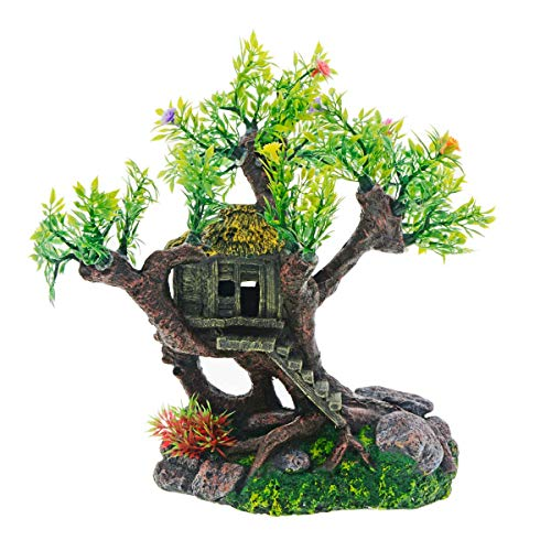 Saim Aquarium Decoration Resin and Plastic Old Wood House Built on Flower Tree Decor Lifelike Artificial Plant Resin Crafts for Aquarium Fish Tank Ornaments Accessories
