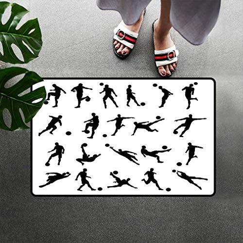 Bohogifts Soccer Printed Doormats Football Player Silhouettes Goalkeeper Striker Shooting Heading Volleying Saving Door Mats Shoes Scraper Entrance Rug Carpets 20