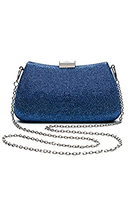 Women Clutch Purse Hard Case Shiny Evening Bag Glitter Handbag With Chain Strap