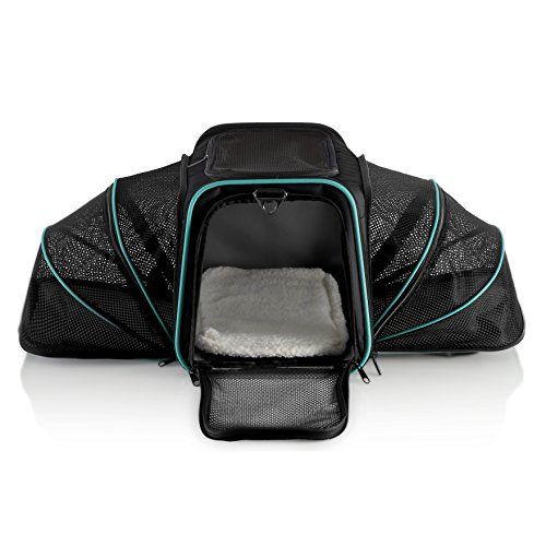 Pawdle Double Expandable and Foldable Pet Carrier Domestic Airline Approved (Black)