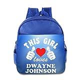 Custom This Girl Loves The Wrestler Personalized Kids School Backpack For 1-6 Years Old RoyalBlue