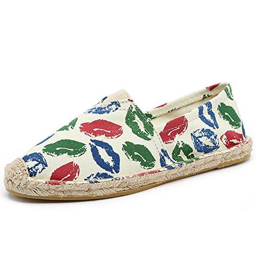 Highdas Unisex-Erwachsene Espadrilles Prints Flats Leinwand Schuhe Stoffschuhe Freizeitschuhe Damen/Herren 22#