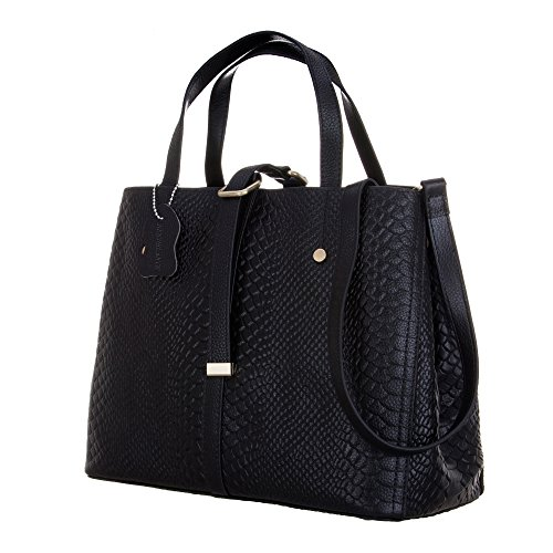 KEEPBLANCE Premium Genuine Leather Snake Skin Studded Satchel Tote CrossBody Shoulder Bag Handbag (Snakeskin Embossed Leather)