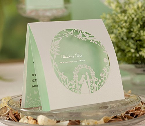 Wishmade Wedding Invitations Cards, Green, 100 Pieces, CW006, Customized Printing by Wishmade