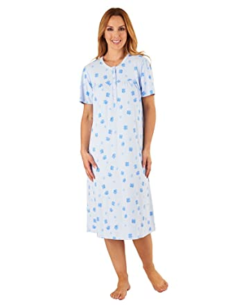 55f4a815ac Slenderella ND8110 Women s Blue Floral Cotton Night Gown Short Sleeve  Nightdress 10 12