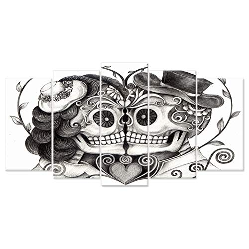 iHAPPYWALL 5 Pieces Canvas Print Art Vintage Skull Head Couple Love with Flower in Eyes Human Skeleton Man and Woman Tattoo idea The Pictures Print On Canvas for Home Decor
