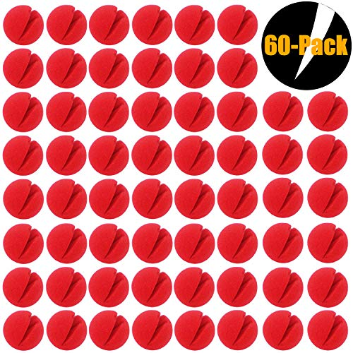 WUQID Clown Nose Halloween Christmas Costume Party Accessories Cosplay Circus 60 pcs for Kid Adult (Red) -