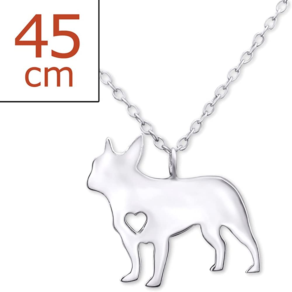 14K Rose Gold-plated 925 Silver Bulldog Pendant with 16 Necklace Jewels Obsession Bulldog Necklace