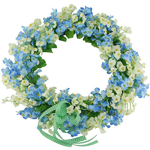Ogrmar Artificial Flower Wreath/Handmade Floral Artificial Simulation Flowers Garland Wreath for Home Front Door Christmas Wedding Party Decoration (Blue)