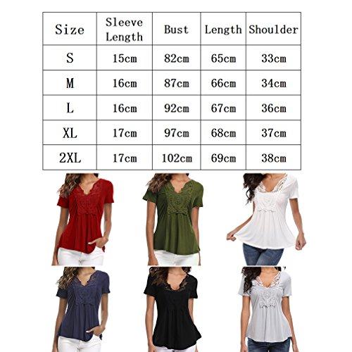 Respirant lgant Hibote Dentelle Sexy 5 Et Top Blouse Shirt Casual de S Manche V Couture Femme Doux 2XL Col Courte a7gzaR