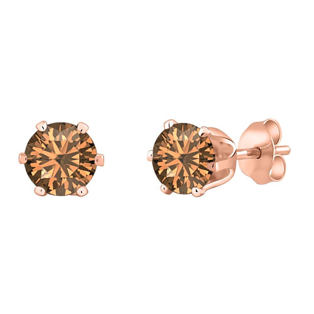 Summer Sale 2mm Round D//VVS1 14k Rose Gold Over 6 Prong Stud Earrings