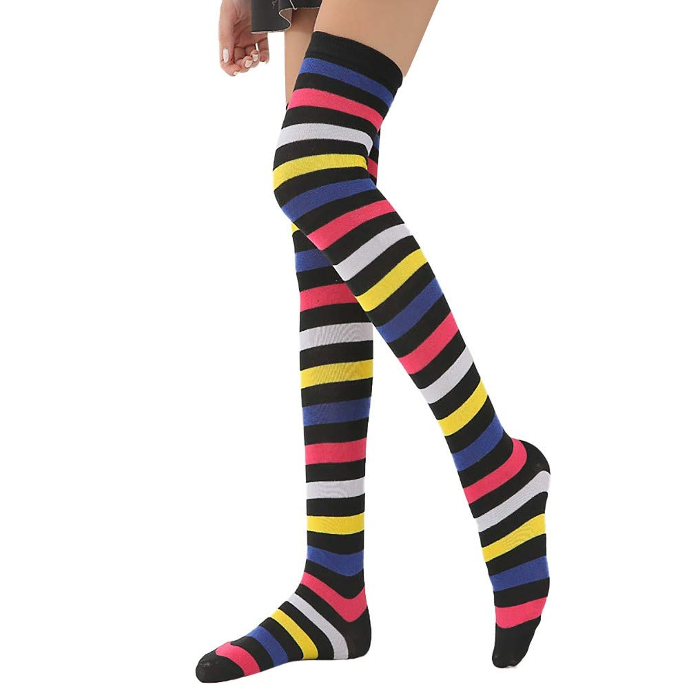 CofeeMO Womens Stylish Rainbow Stripe Over Knee Sock, Breathable Soft Cozy High Tube Socks for Ladies Breathable Soft Cozy High Tube Socks for Ladies (A)