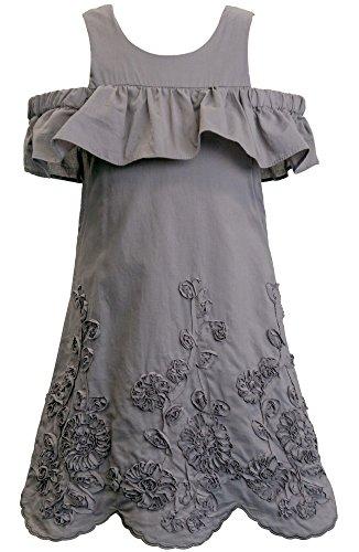 Truly Me Bohemian Shift Dress (Many Options), 4-6X & 7-16 (16, Gray) Teen Girls Grey Dress