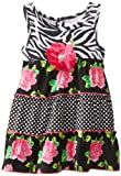 Youngland Baby Girls' Zebra Floral Print Dress, Multi, 18 Months