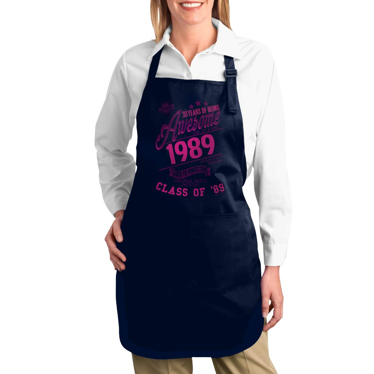 ZANGLUOJI Ladies Birthday 30 Years of Being Awesome 1989 Aged to Perfection Class of '89 Heavy Duty Canvas Work Apron,Tool Pockets, Back Straps Adjustable