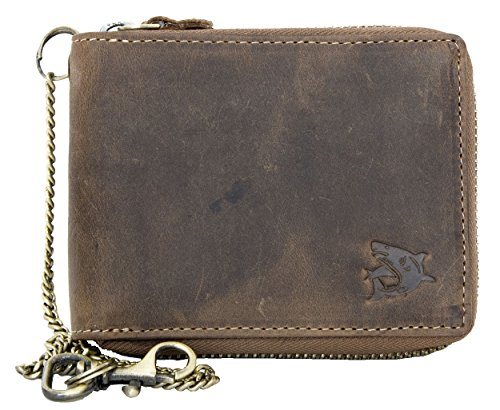 Large Genuine Leather Wallet with Zip Around (zipper around) with Shark with Chain ()