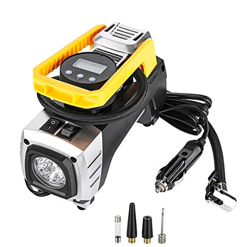 Air Compressor Pump 12V 150 PSI Tire Inflator with Powerful Flashlight tyre air pump for Tire,Trailer,Bike,Jeep,RV,Soccor,Motorcycle.