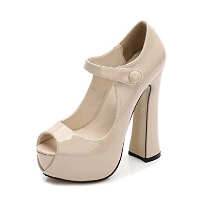 d254c6884b4a Women s Peep Toe Hidden Platform Ankle Strap Chunky Heel Pumps PU Apricot  Tag 35 - US