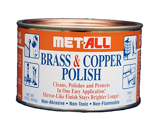 MET-ALL BC-10 Brass & Copper Polish 16oz Cleans, Polishes, Protect Oxidation & Tarnish Removal on Antiques, Rails, Ships, Elevators Leaving Protective Barrier + EXTRA LARGE Microfiber Polishing Cloth Door Knob Polish