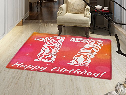 Seventeen Rug Swirls (smallbeefly 17th Birthday Door Mats Area Rug Floral Leaves Swirls Seventeen Number with an Abstract Background Floor mat Bath Mat for tub Orange and Hot Pink)
