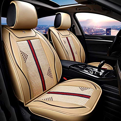 Wsjfc PU Leather Ice-Silk Car Seat Cover- Anti-Slip Suede Backing Universal Fit Car Seat Cushion for Both Fabric And Leather Car Seats,Black,Beige: Amazon.co.uk: Sports & Outdoors
