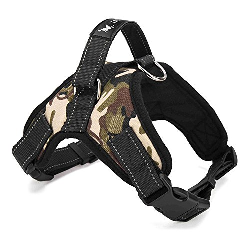 Pet Harnesses, ALLOMN Dog Harness Padded Chest Strap Heavy Duty with Handle Comfortable for Labrador Golden Retriever Samoyed Husky Dogs (M, Camouflage)