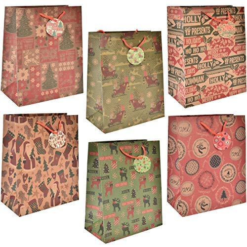 24 Large Brown Christmas Kraft Gift Bags Reusable Bulk Variety Set Assortment with Handles & Coordinating Gift Tags for Wrapping Holiday Presents Party Favor Decorations 6 Beautiful Winter Designs
