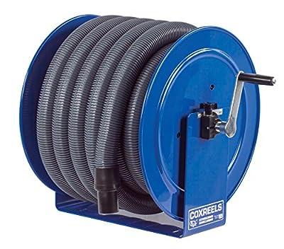"Coxreels V-117H-835 V-117-850 Vacuum Only Direct Crank Rewind Hose Reel, 1-1/2"" Cuff, 2"" x 35' Hose, Blue"