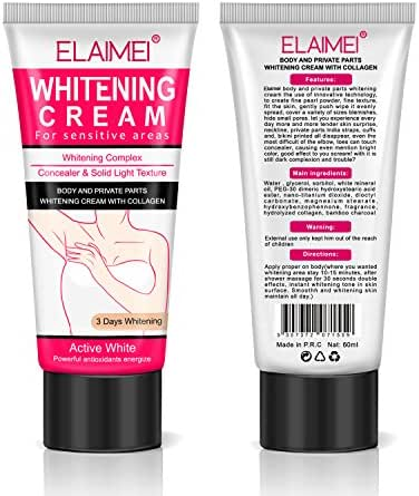 Whitening Cream - Intimate Skin Lightening Cream for Body, Bikini and Sensitive Areas - (2 Packs)Skin Whitening Cream Contains Hydrolyzed collagen, Glycerol, Nano Titanium Dioxide 60ml / 2 oz