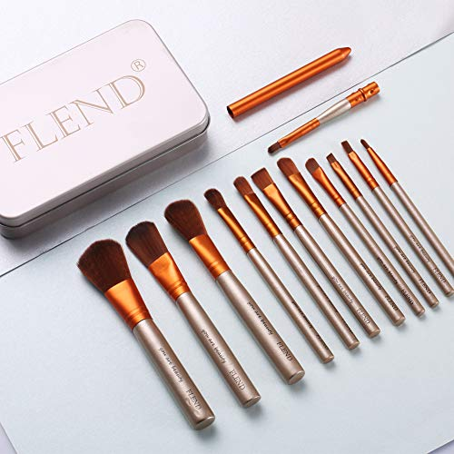 (Flend 12 Pieces Premium Makeup Brush Set, Professional Makeup Brushes, Synthetic Kabuki Foundation Cosmetic Brushes with a Delicated)