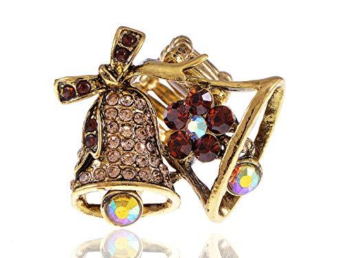 Topaz Rhinestone Crystal Ribbon Swinging Wedding Christmas Dangle Bells - Bell Wedding Dangle