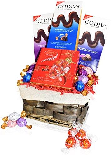 Godiva Christmas Chocolate Variety Gift Basket - Godiva Assorted Truffles - Masterpieces Chocolate Bar Milk, Dark, Caramel, Hazelnut and more - Christmas Gift for Family, Friends, Him, Her