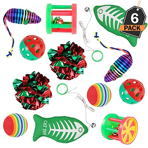 Scale Rank Christmas Cat Stocking Toys, Set of 2, for Cats and Kittens, 6 Different Toys - Value Pack