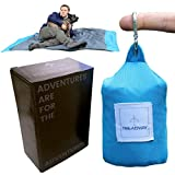 Treadway Pocket Blanket Over 6ft x 4ft - Camping/Beach/Picnic Blanket - Ultra-Lightweight, Water-Repellent, 6 Pockets, 4 Stake Loops, fold Any Way to repack, Carabiner Included. (Blue)