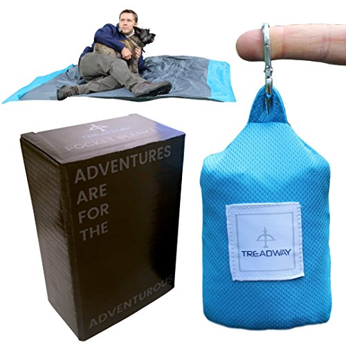 Treadway Pocket Blanket by Over 6ft x 4ft - Camping/Beach/Picnic blanket - Ultra-lightweight, water-repellent, 6 pockets, 4 stake loops, fold any way to repack, carabiner included. (Blue) -